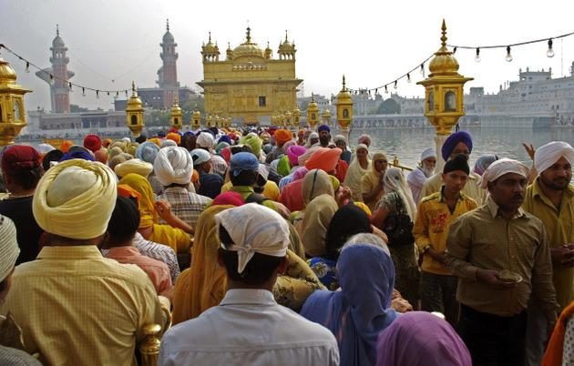 Sikh devotees throng Golden Temple to pay obeisance on the occasion of the birth anniversary of Guru Nanak, who founded the Sikh religion, in Amritsar