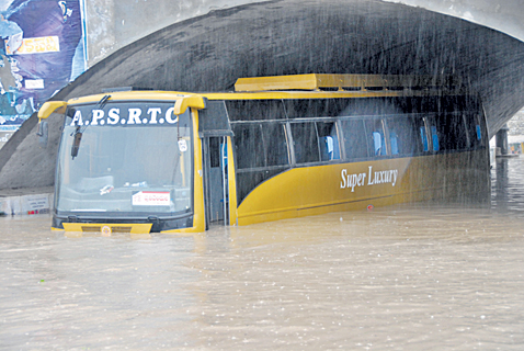 bus under Kurnool bridge